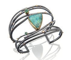 Another beautiful Boulder opal with emeralds in a Twig cuff.   http://sydneylynch.com #bracelets #boulder opals