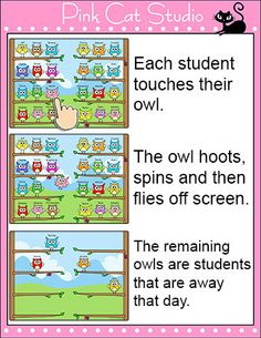 Owl Friends Interactive Attendance Sheet for Interactive Whiteboards by Pink Cat Studio | Pink Cat Studio