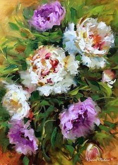 Wind Dancers - Peonies - Flower Paintings by Nancy Medina, painting by artist Nancy Medina