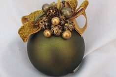 Dark green decorated ornament by ItsAlwaysSomethingHJ on Etsy