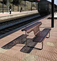 Design public bench in metal (with backrest) - THE POET by Alfredo Häberli - ArchiExpo