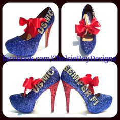 USMC Semper Fi Marine Glitter High Heels by ChelsieDeyDesigns on Etsy https://www.etsy.com/listing/102616548/usmc-semper-fi-marine-glitter-high-heels