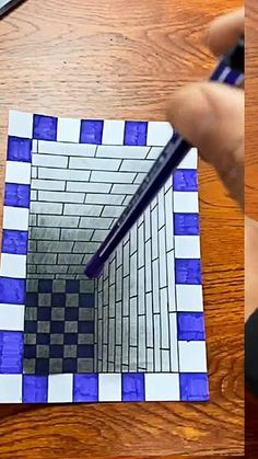 Anyone can draw a stereoscopic painting with a ruler and pen 3d Pencil Drawings, 3d Art Drawing, Art Drawings Sketches Simple, Easy Drawings, Drawing Ideas, 3d Pencil Art, Cute Drawings For Kids, Easy 3d Drawing, Basic Drawing