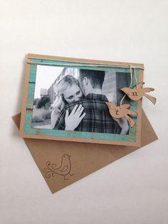 Rustic Handmade Wedding Save-the-Date: Monogrammed Love Birds, Custom orders. Free US Shipping!