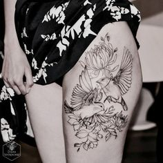 birds and flowers tattoo