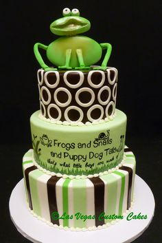 Frogs And Snails Puppy Dog Tails For A Little Boys Baby Shower Cake Las Vegas Custom Cakes