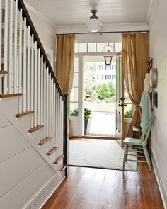 Curtains around door >>> Farmhouse renovation by Georgia-based Historical Concepts. Southern Living's 2012 Idea House. Southern Farmhouse, Farmhouse Design, Farmhouse Front, Fresh Farmhouse, Vintage Farmhouse, Modern Farmhouse, Farmhouse Style, Farmhouse Ideas, Front Door Curtains