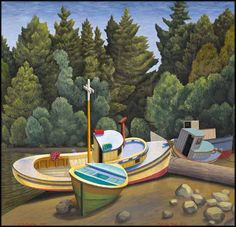 ROBERTS BAY, BC Edward John (E.J.) Hughes. BCSFA CGP OC RCA 1913 - 2007 Canadian oil on canvas 24 x 25 in 61 x 63.5 cm Canadian Artists, Vancouver Island, Oil On Canvas, Boats, Ocean, Paintings, Water, Water Water, Aqua