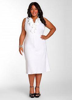 Ashley Stewart: Ruffle Front Linen Dress