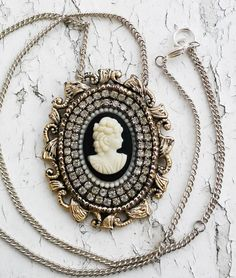 Victorian Lady Face Cameo Shiny & Matte White Rhinestones Pendant Jewelry Necklace by DreamAddict on Etsy