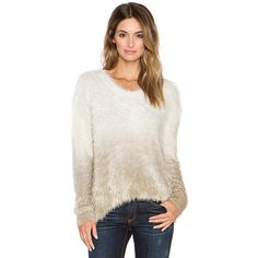 Generation Love Camille Ombre Feather Knit Sweater Sweaters & Knits ($224) ❤ liked on Polyvore featuring tops, sweaters, sweaters & knits, ombre sweater, knit sweater, white sweater, asymmetrical hem top and white knit sweater