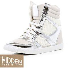 white and silver high tops - high tops - shoes / boots - women - River Island