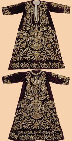 Festive woman's dress ('bindallı entari').  Late-Ottoman, urban, end of 19th century. Embroidery technique: 'sarma' / 'Maraş işi'.