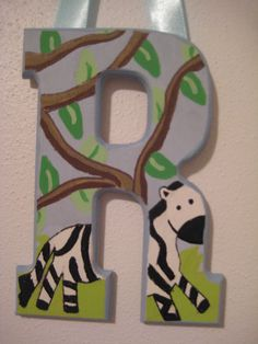 Close-ups of painted wooden letters