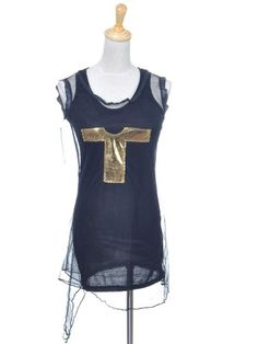 Anna-Kaci S/M Fit Black Sleeveless Metallic Gold « Impulse Clothes