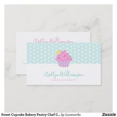 Sweet Cupcake Bakery Pastry Chef Catering on Aqua Business Card