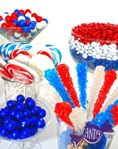Red, White & Blue Candy Buffet inspiration!   #4thofJuly #Candy #CandyBuffet #CandyBuffets #RedWhiteandBlue #Ideas #Sugar #sweets #delicious #partyfavors #bulkcandystore