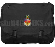 Black Kappa Psi laptop bag with the crest across the front.