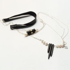 Silver Necklace with Pearls and Leather . Original Design by OSA