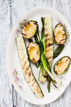 Grilled avocado and cucumber