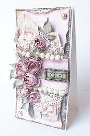 Dziś delikatna, różowa karteczka powitalna dla Małej Księżniczki w stylu Chabby Chic   Delikatności i lekkości nadały kompozycji serw...