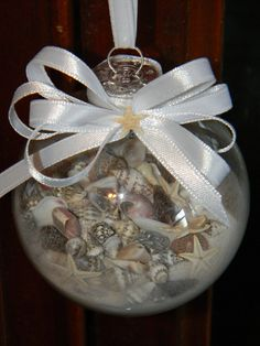 #Christmas at the beach Sand and shell filled ornament by TheCoastalEffect on Etsy, $6.00