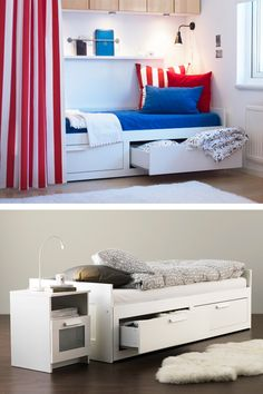 Four-in-one functionality! The IKEA BRIMNES daybed can be comfy seating, a bed for one or two and has two big drawers for storage!