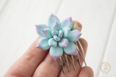 Blue Purple Succulent Planter Small Succulent Comb - EtenIren - Grzebyki do włosów