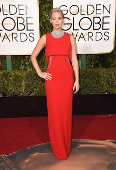 #GoldenGlobes2016  #GoldenGlobes  Jennifer Lawrence in Dior and Chopard jewelry