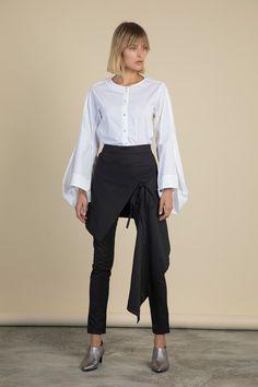 Parachute Sleeve Cotton Shirt Palmer Harding, Skinny Fit, Poplin, Black Cotton, Fitness Models, Trousers, Normcore, Sleeve, Skirts