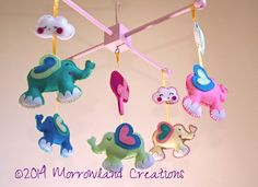 Flying Elephants Mobile baby and children's handmade decorative room / cot Mobile. Custom felt and frame colours can be chosen at no extra cost. www.morrowlandcreations.co.uk #BabyMobiles #NurseryMobiles