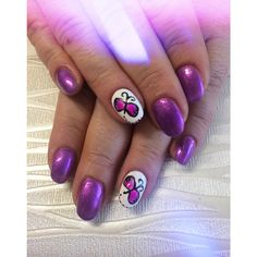 Butterfly and purple glitter Acrylic nails with Gel Overlay