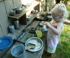Outdoor Mud Kitchen-such fun! Great way to get kiddos back to being a kid and not looking at a TV or Game all the time!