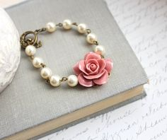 Dusty Pink Rose Bracelet Pearl Bracelet Floral Bridal Bracelet Country Chic Wedding Vintage Style Jewelry Romantic Bridesmaids Accessories