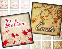 Inspirational words vintage inspired 1 inch by KarisaGraphic