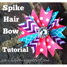 Spike Hair Bow Tutorial - Hairbow Supplies, Etc. DIY spike hair bow with grosgrain ribbon. How to make hair bows for little girls! This spiked hair bow tutorial is a perfect way to coordinate ribbons for your little girls outfits! Ribbon Hair Bows, Diy Hair Bows, Hair Bow Tutorial, Making Hair Bows, Bow Making, Boutique Hair Bows, Diy Bow, Diy Headband, Diy Hair Accessories