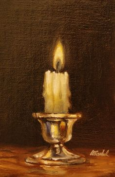 """Candle on Silver Holder,  Oil on 4""""x6"""" Linen Panel Still Life Oil Painting by Carolina Elizabeth"""