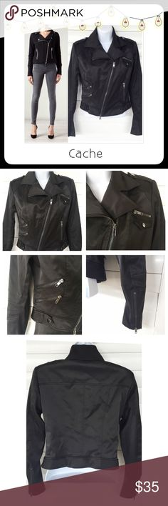 """⚫️ BOGO 1/2 OFF Cache Stretch Motorcycle Jacket  BOGO 1/2 OFF see Sale Post in my closet for more details   Super chic black stretchy biker jacket with silver hardware...zipper at the bottom of each sleeve...62% Polyester 35% Cotton 3% Spandex Brand: Cache Size: XS Measurements: length - 19""""; chest - 18.5"""" flat Condition: preowned - good Cache Jackets & Coats"""