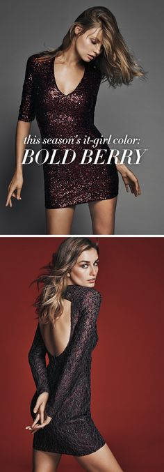 Have everyone at the party seeing red this holiday season in a berry toned cocktail dress. Take a break from your go-to LBD and stand out at your holiday party in a rich red hue. Berry is having a major moment this season on its own, but add some sequins and sexy cutout details and you've got an unforgettable look for any holiday party, whether you're spending the evening in the VIP or popping champagne with your crush.