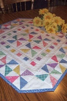 Pretty colors on this table topper