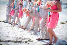 Beach Wedding Color Ideas - Not quite the right colors but I love the idea of wrapping the bridesmaids bouquets in Turquoise ribbon to accent the groomsmen's Turquoise tie. Beautiful with the Coral dress, sandy beach and aqua blue ocean.