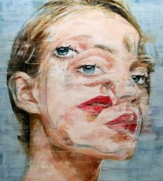 Harding Meyer surreal double-exposure portrait painting of blonde woman. #doublevision #surrealsm #diprosopus hardingmeyer.tumblr.com