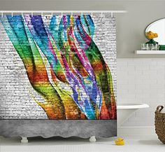 Rustic Home Decor Shower Curtain by Ambesonne Abstract Graffiti Painted on Wall Harmony of Colors Street Art Fresco Print Fabric Bathroom Decor Set with Hooks 75 Inches Long Multi ** Learn more by visiting the image link. #RusticHomeDecor