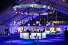 A truss above the central circular bar showed the dates of Dodgers World Series championship wins.  Photo: Vero Image