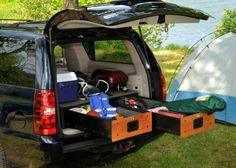 Car camping organization How To Make Camping Storage, Camping Organization, Rv Storage, Storage Drawers, Mobile Storage, Storage Ideas, Vehicle Storage, Storage Units, Minivan Camping