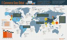 e-commerce goes global  #infographic #ecommerce #business #charts #worldmap