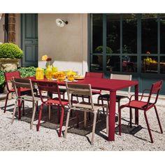 Salon Monceau : table 146x80 cm aubergine + 2 chaises fuschia + 2 ...