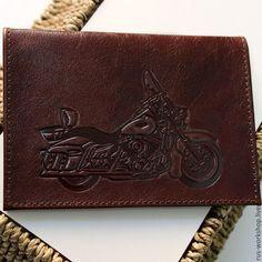 Купить Мотоцикл. Кожаная обложка на паспорт - коричневый, обложка на паспорт, обложка из кожи, обложка на документы