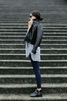 leather jacket, gingham blouse, dark denim, black booties