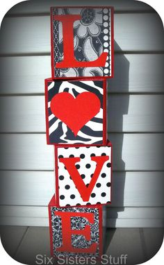 Easy Valentines Love Blocks Tutorial - So easy and so cute! day crafts to sell wood blocks Easy Valentines Love Blocks Tutorial Easy Valentine Crafts, My Funny Valentine, Valentines Day Decorations, Valentine Day Love, Holiday Crafts, Holiday Fun, San Valentin Ideas, Craft Projects For Kids, Craft Ideas